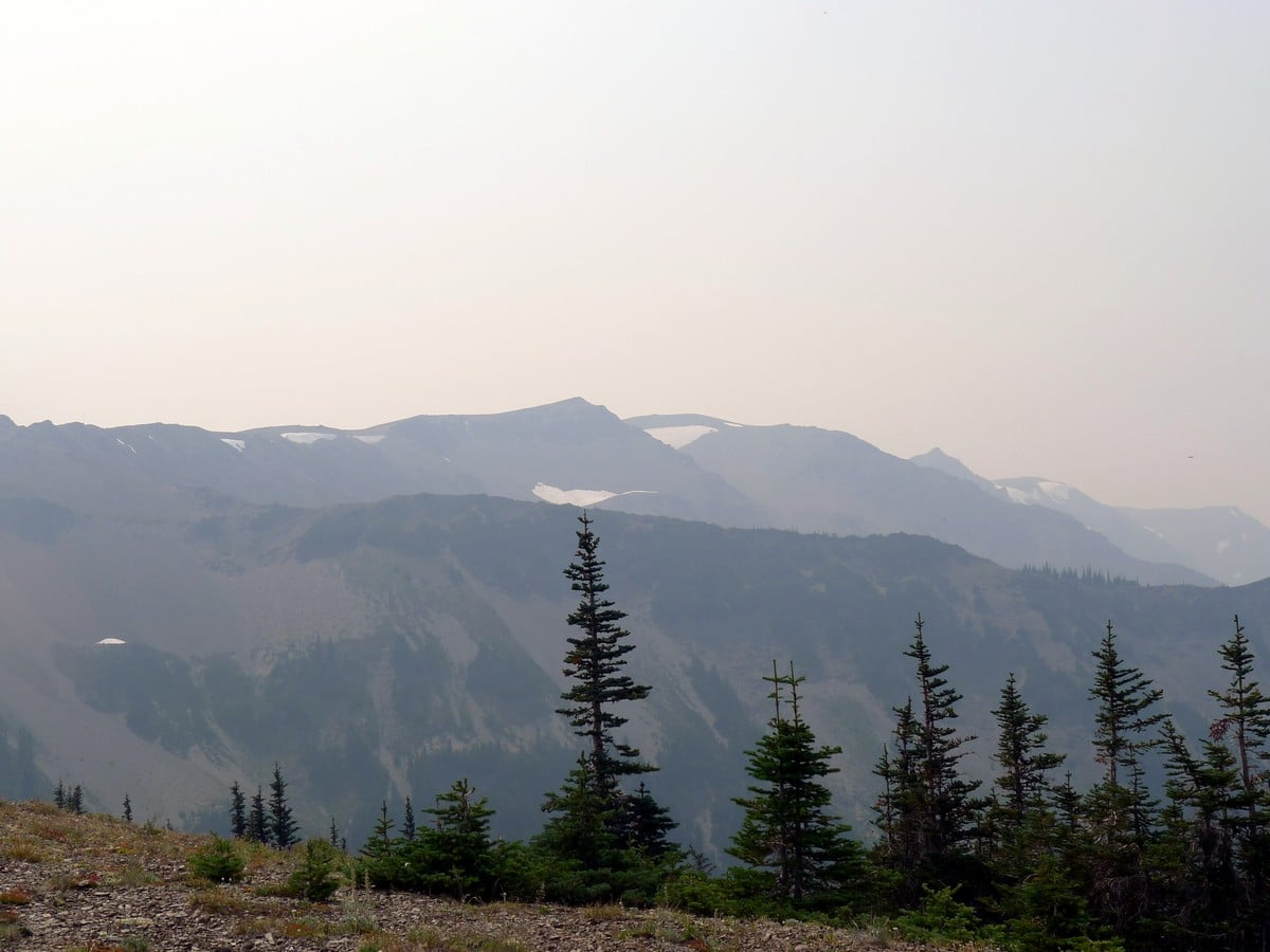 Hazy view of the Obstruction Point Hike in Olympic National Park, Washington
