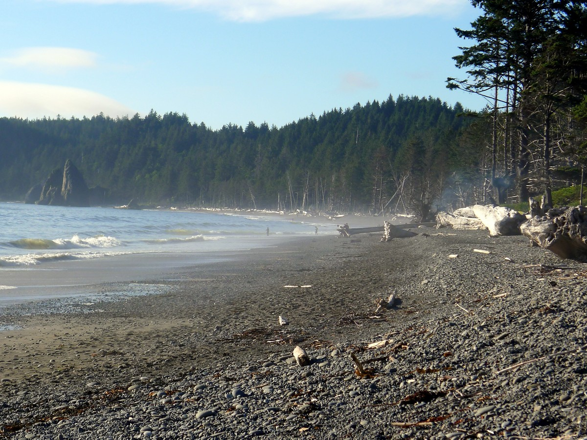 Haze on the beach on the Hole in the Wall Hike in Olympic National Park