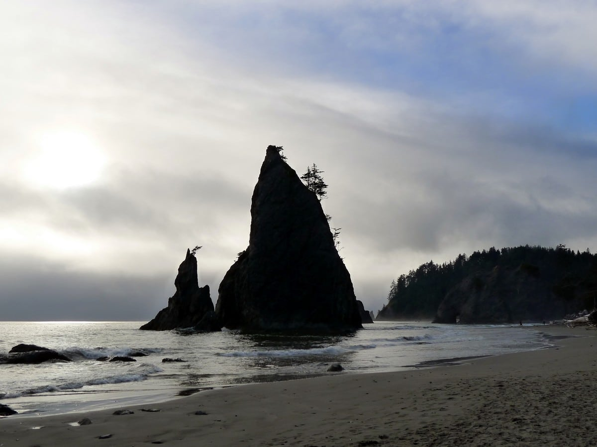 Massive boulders on the Hole in the Wall Hike in Olympic National Park