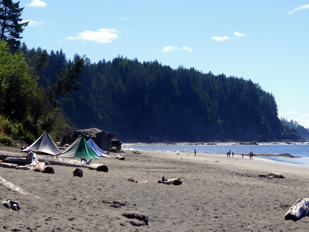 Campers on a Third Beach trail in Olympic National Park, Washington