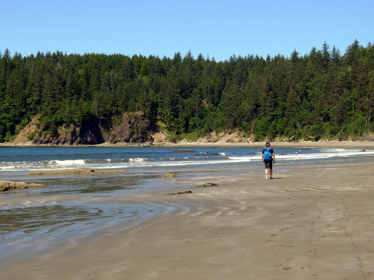 Walking in the beach along the Third Beach trail in Olympic National Park, Washington