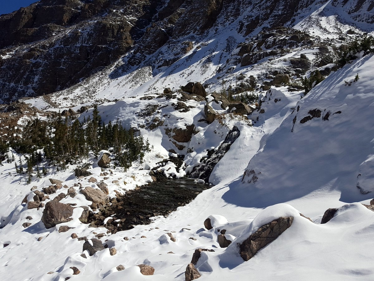 Waterfall on the Sky Pond and Lake of Glass Hike in Rocky Mountain National Park, Colorado