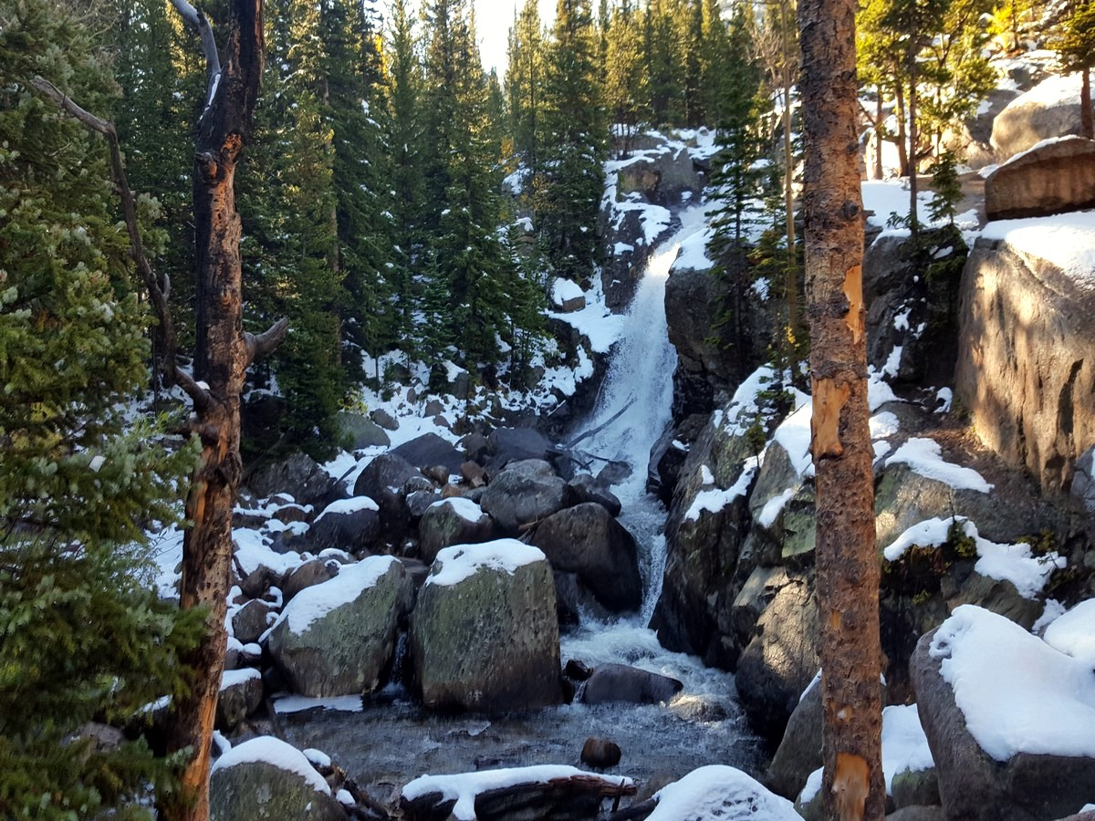 Alberta Falls from the Sky Pond and Lake of Glass Hike in Rocky Mountain National Park, Colorado