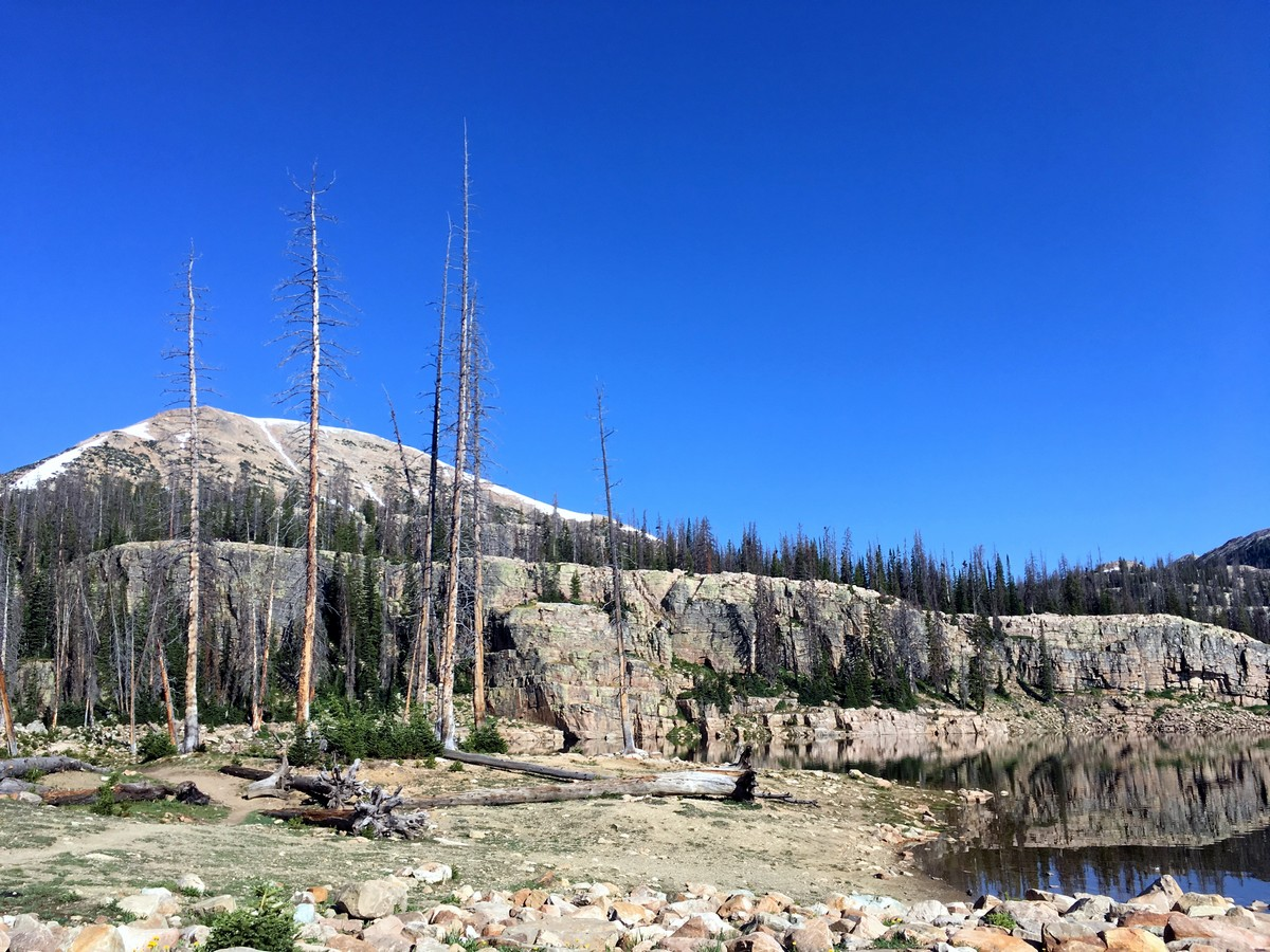 View of Mt Watson as you climb the Notch on the Ibantik Lake hike in the Uinta Mountains, Utah