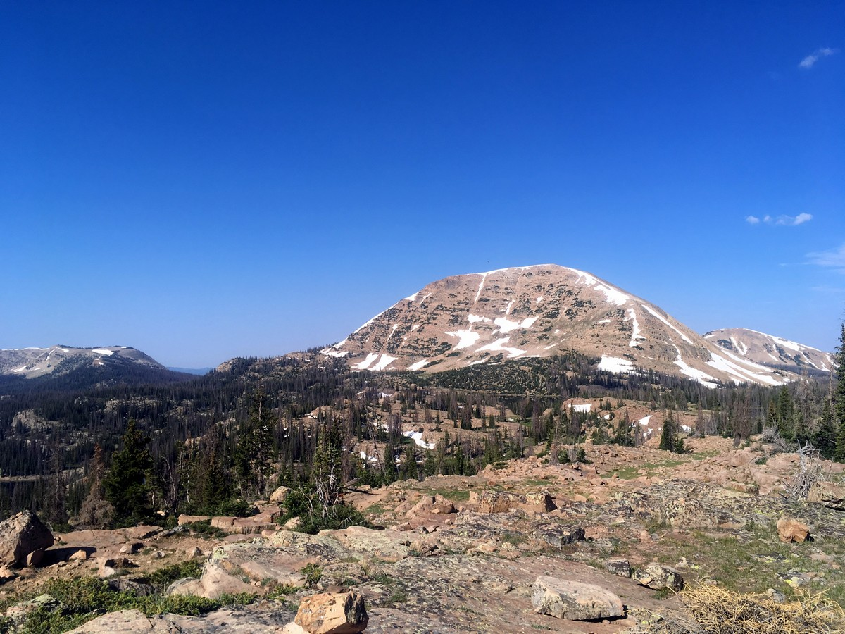 View of Mt Watson from the Notch on the Ibantik Lake hike in the Uinta Mountains, Utah
