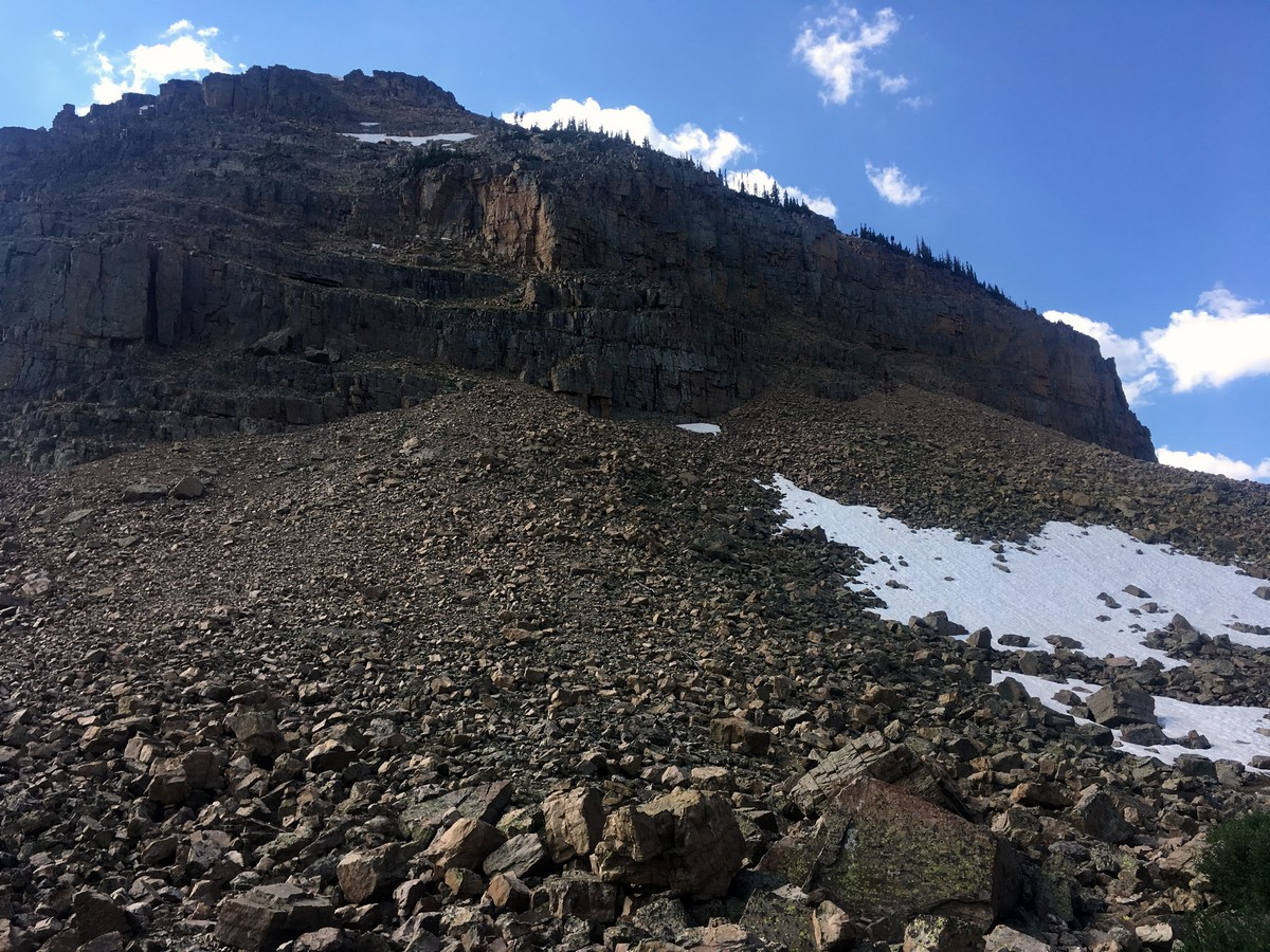 Scree at the bottom of Notch mountain on the Ibantik Lake hike in the Uinta Mountains, Utah