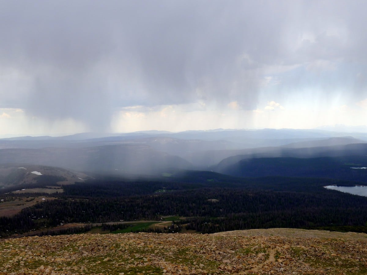 Rain in the valley from the Bald Mountain hike in the Uinta Mountains, Utah