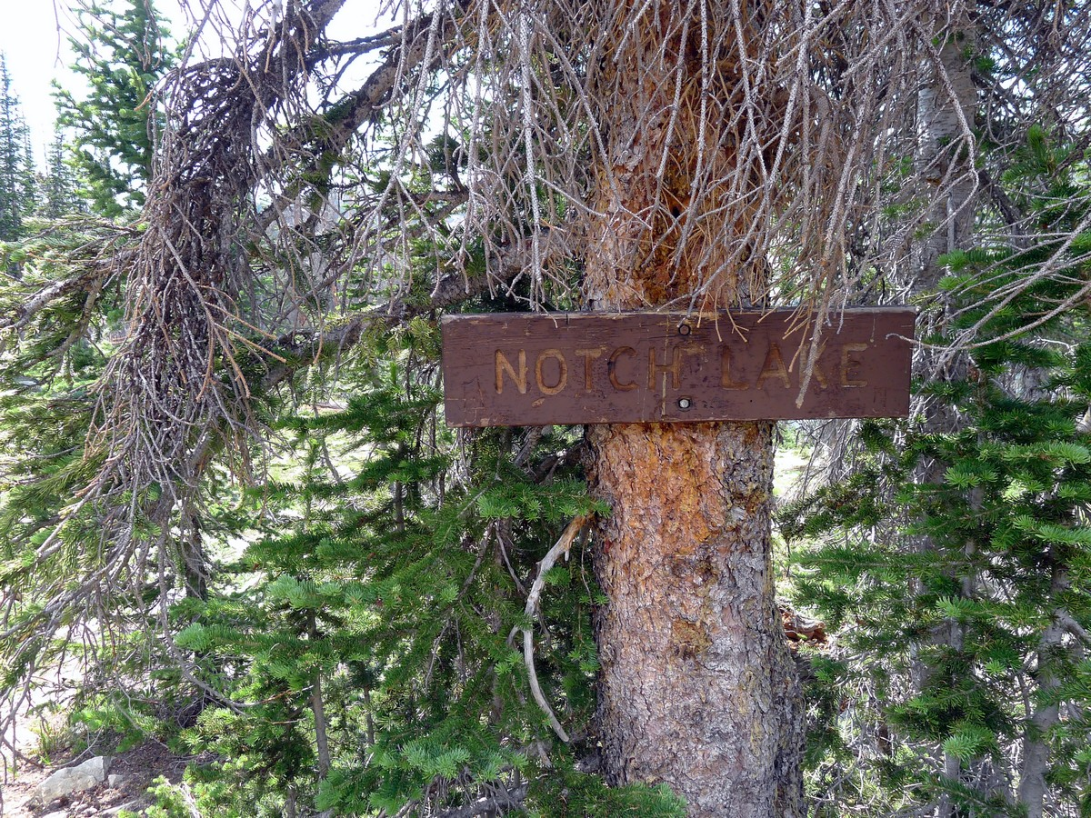 Sign for the Notch Lake on the Notch Lake hike in the Uinta Mountains, Utah