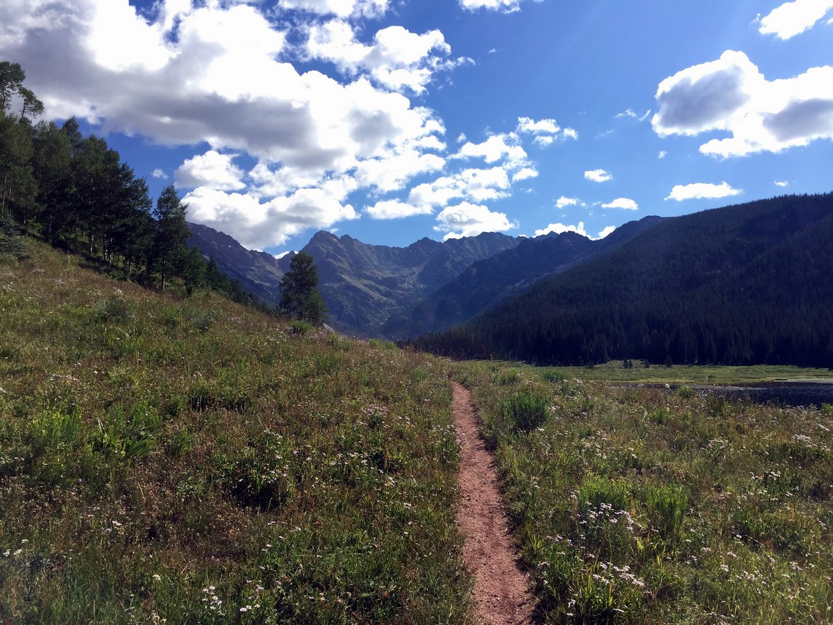 Gore range on Upper Piney Falls trail in Vail, Colorado