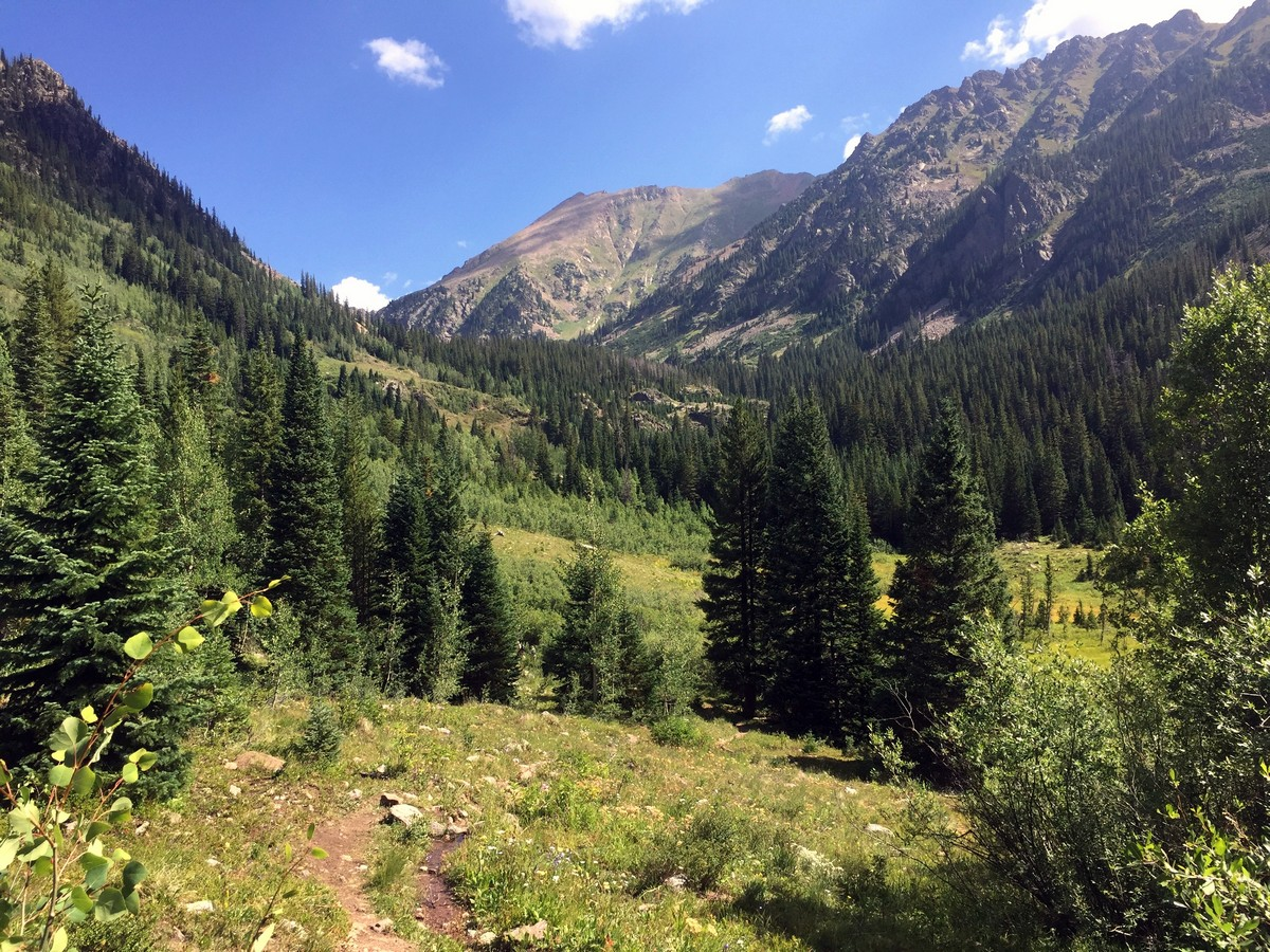 Valley view on the Pitkin Lake Trail Hike near Vail, Colorado