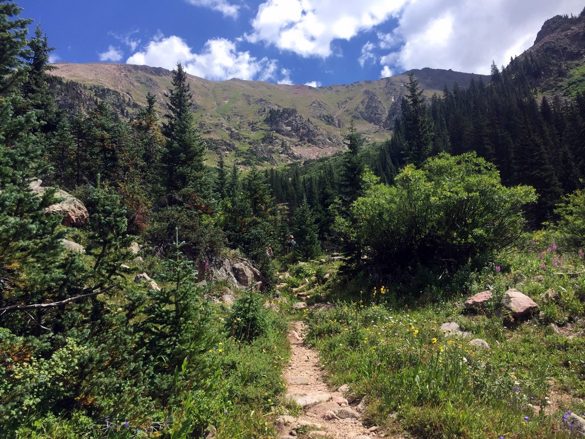 Before ascending to the lake on the Pitkin Lake Trail Hike near Vail, Colorado