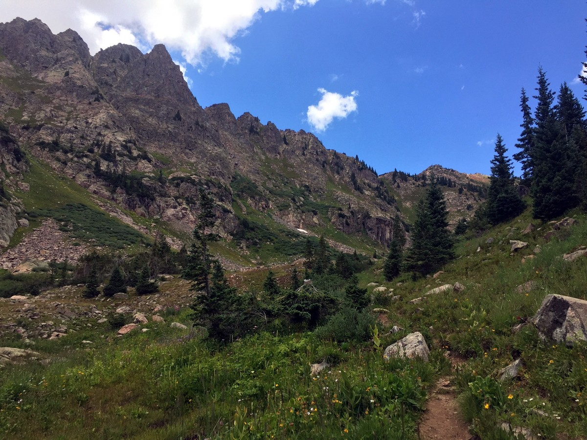 Climbing to the lake on the Pitkin Lake Trail Hike near Vail, Colorado