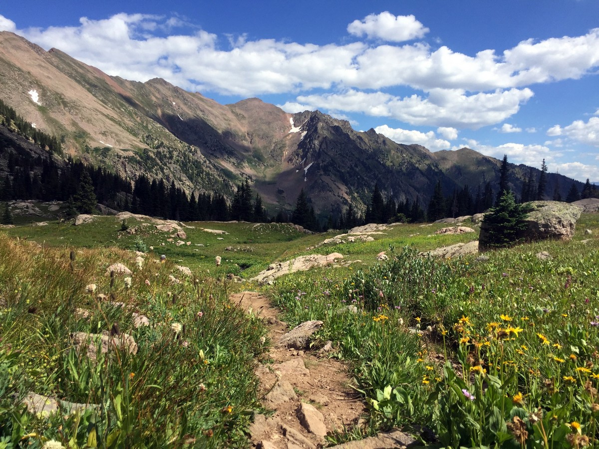 Descending on the Pitkin Lake Trail Hike near Vail, Colorado