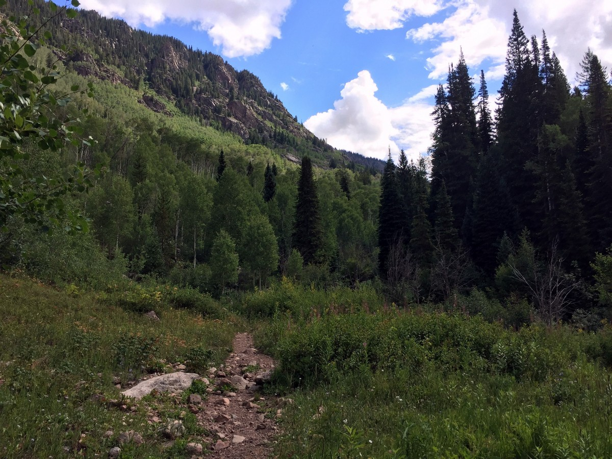 Trail before entering the pine coverage on the Gore Lake Trail Hike near Vail, Colorado