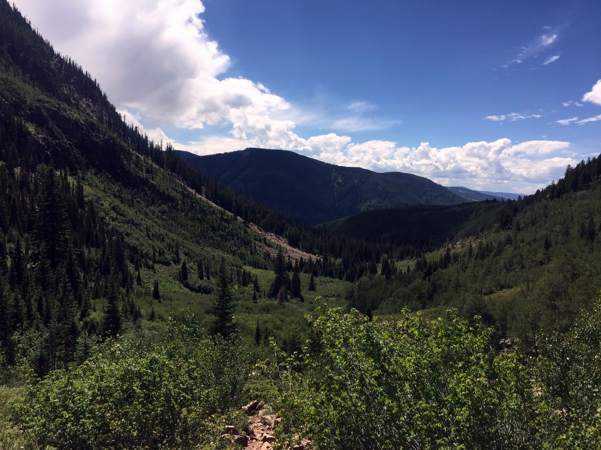 View of the valley from the Bighorn Creek Trail Hike near Vail, Colorado