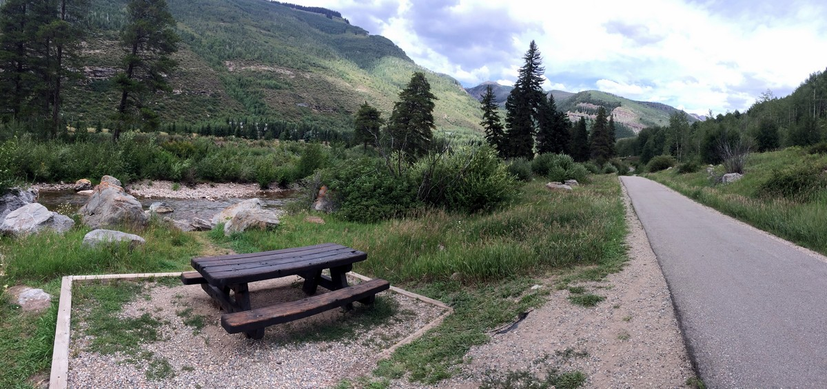 Picnic table on the Gore Valley Trail (East Vail) Hike near Vail, Colorado