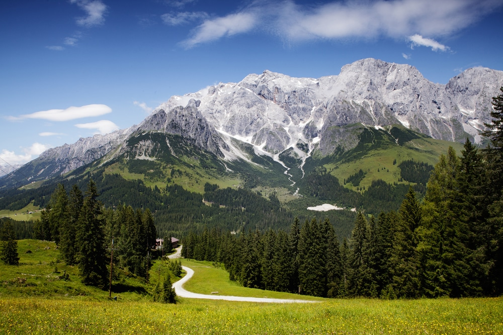 View of the Hochkoenig Mountains from a hiking trip to Austrian Alps