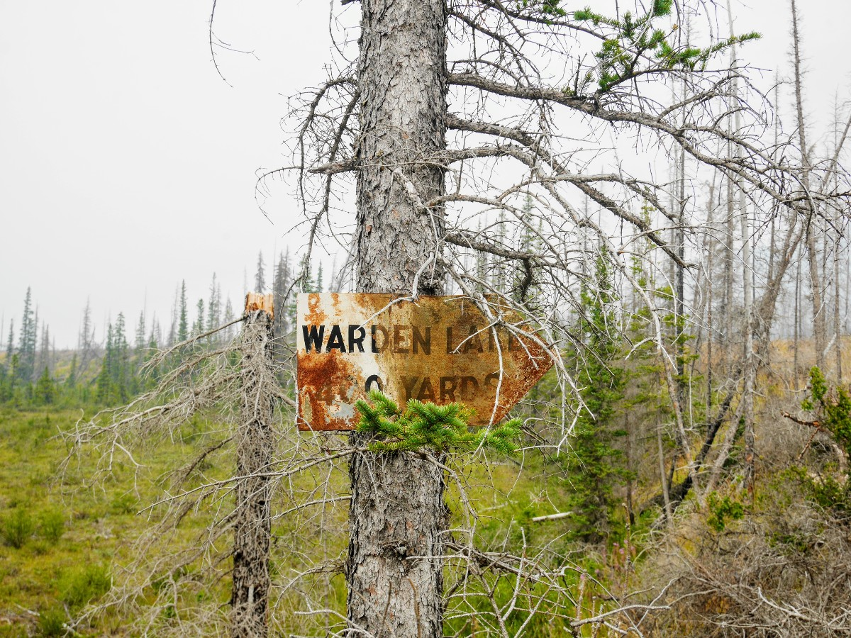 Trail sign on the Warden Lake Hike from the Icefields Parkway near Banff National Park