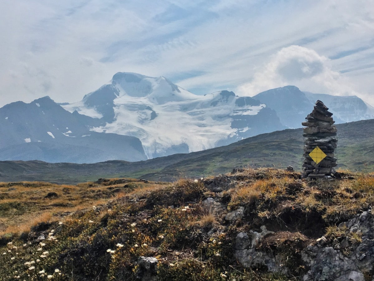Cairn on Mt Athabasca on the Wilcox Pass Hike from the Icefields Parkway near Banff National Park