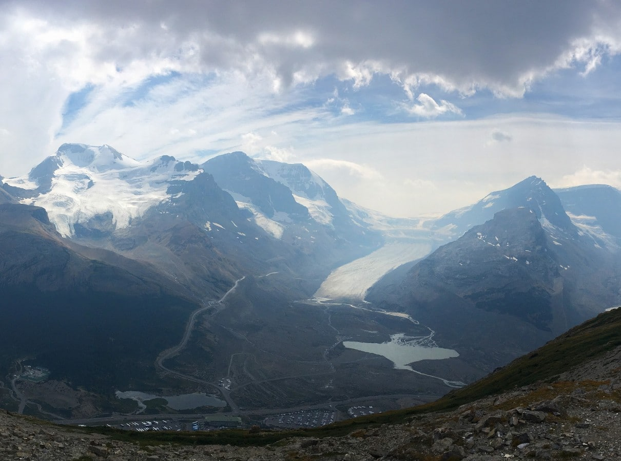 View of Athabasca Glacier and the surroundings from the Wilcox Pass Hike from the Icefields Parkway near Banff National Park