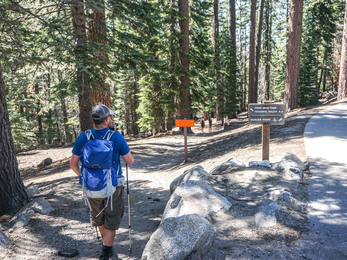 Hiker on a junction at Yosemite Boot Route Hike in Yosemite National Park
