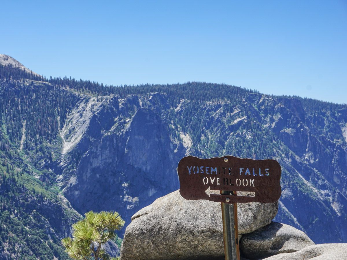 Sign of the overlook on the Yosemite Falls Hike in Yosemite National Park, California