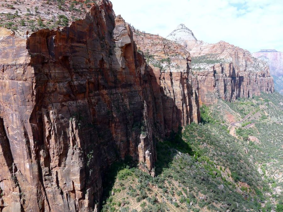 Sheer cliffs lining the canyon