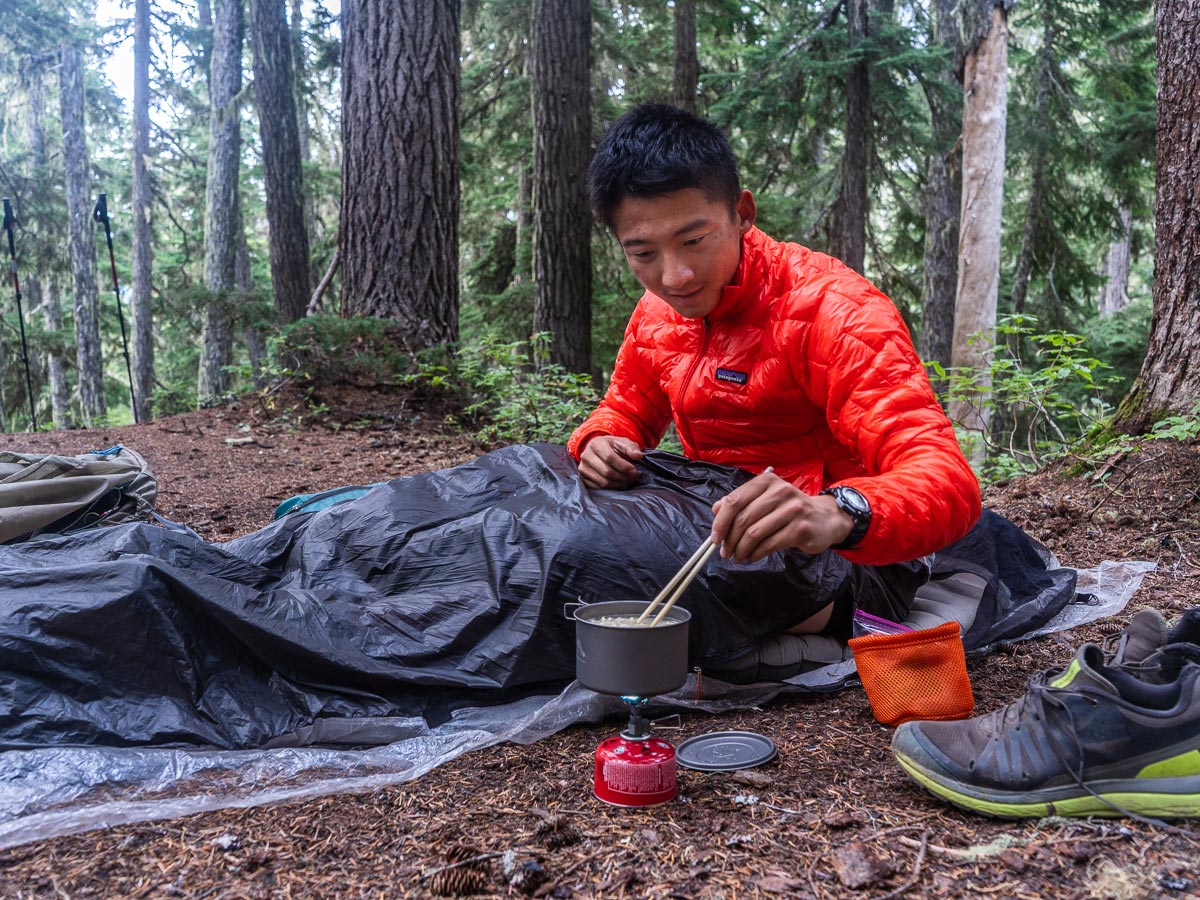 Camping in the woods on the Pacific Crest Trail