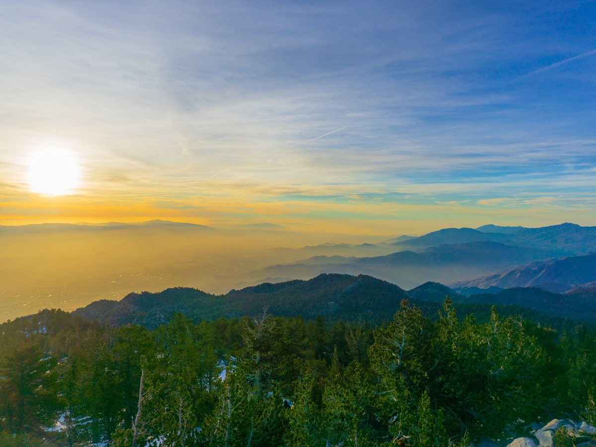 San Jacinto mountain sunrise on the Pacific Crest Trail