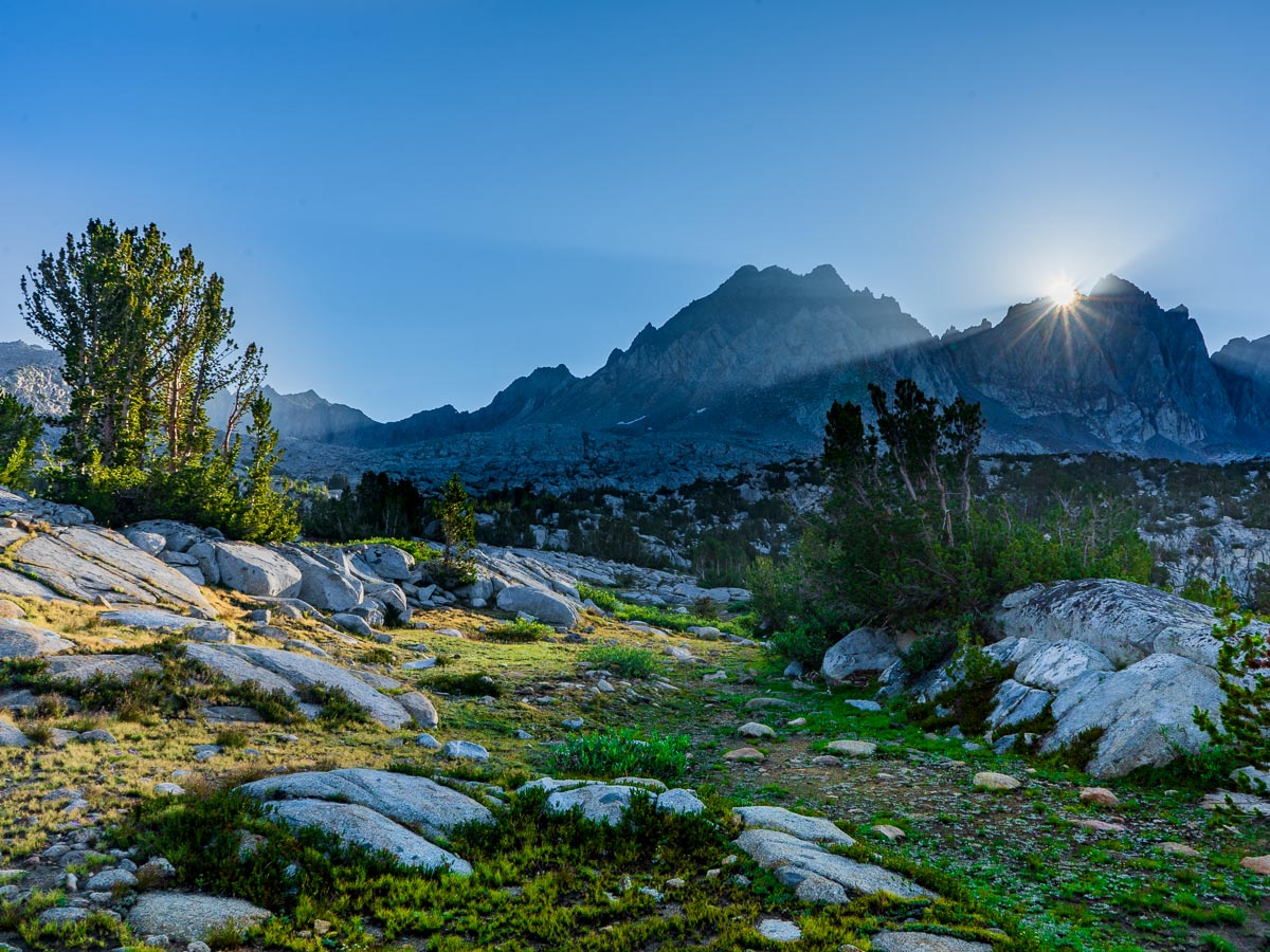 Sunrise over Bishop Pass on the Pacific Crest Trail