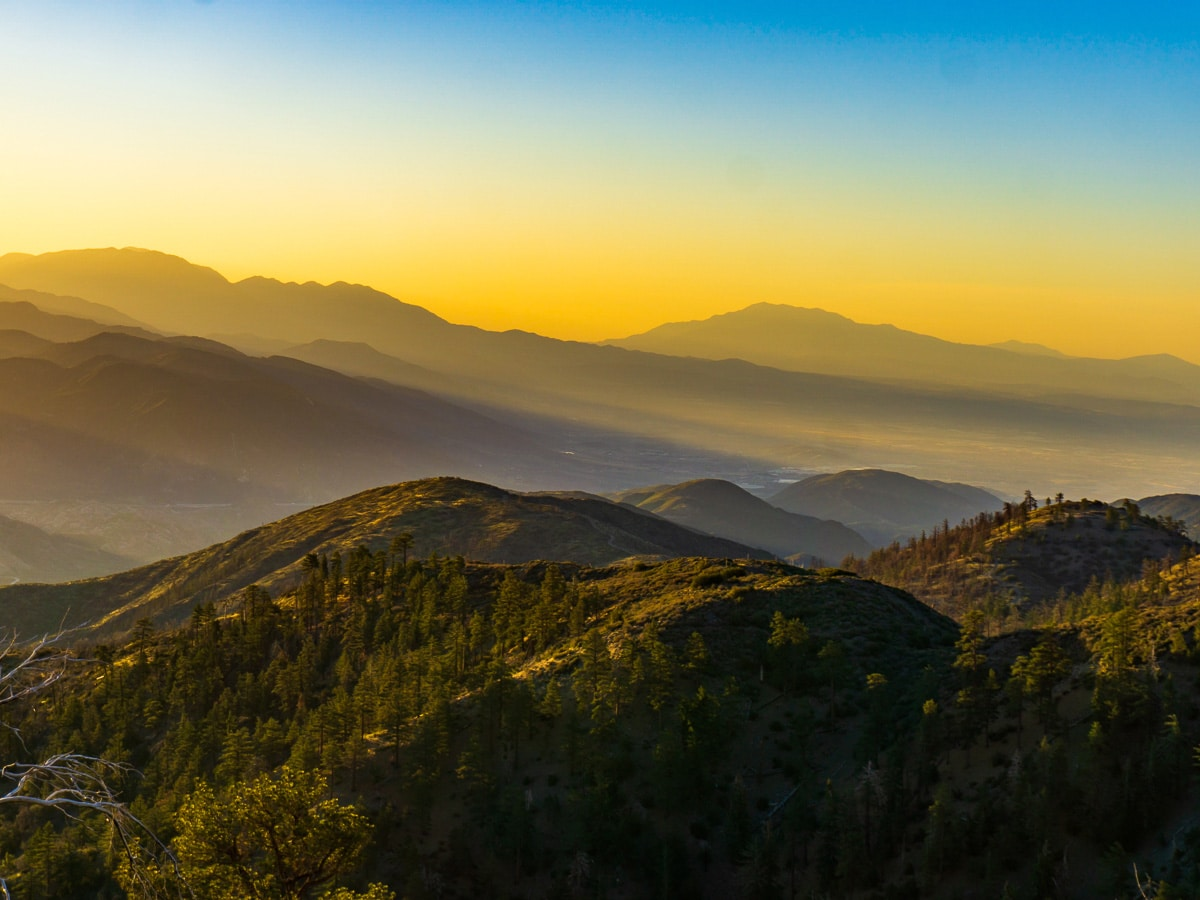 Sunset over Mount Baden Powell on the Pacific Crest Trail