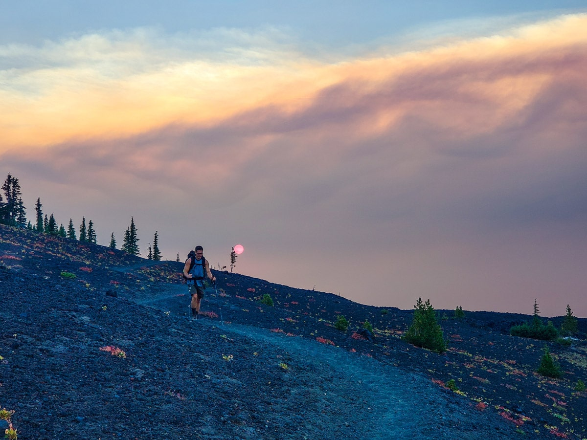 Hiker and the beautiful sunset on the Pacific Crest Trail