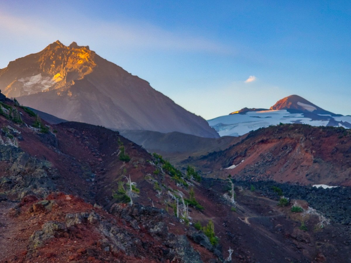 Volcanoes at sunrise on the Pacific Crest Trail