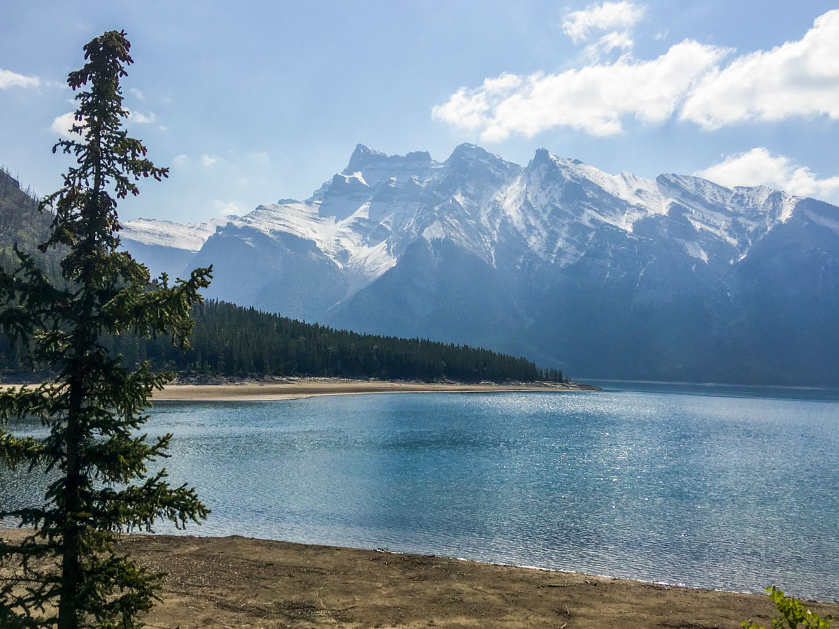 Views from Lake Minnewanka backpacking trail in Banff National Park