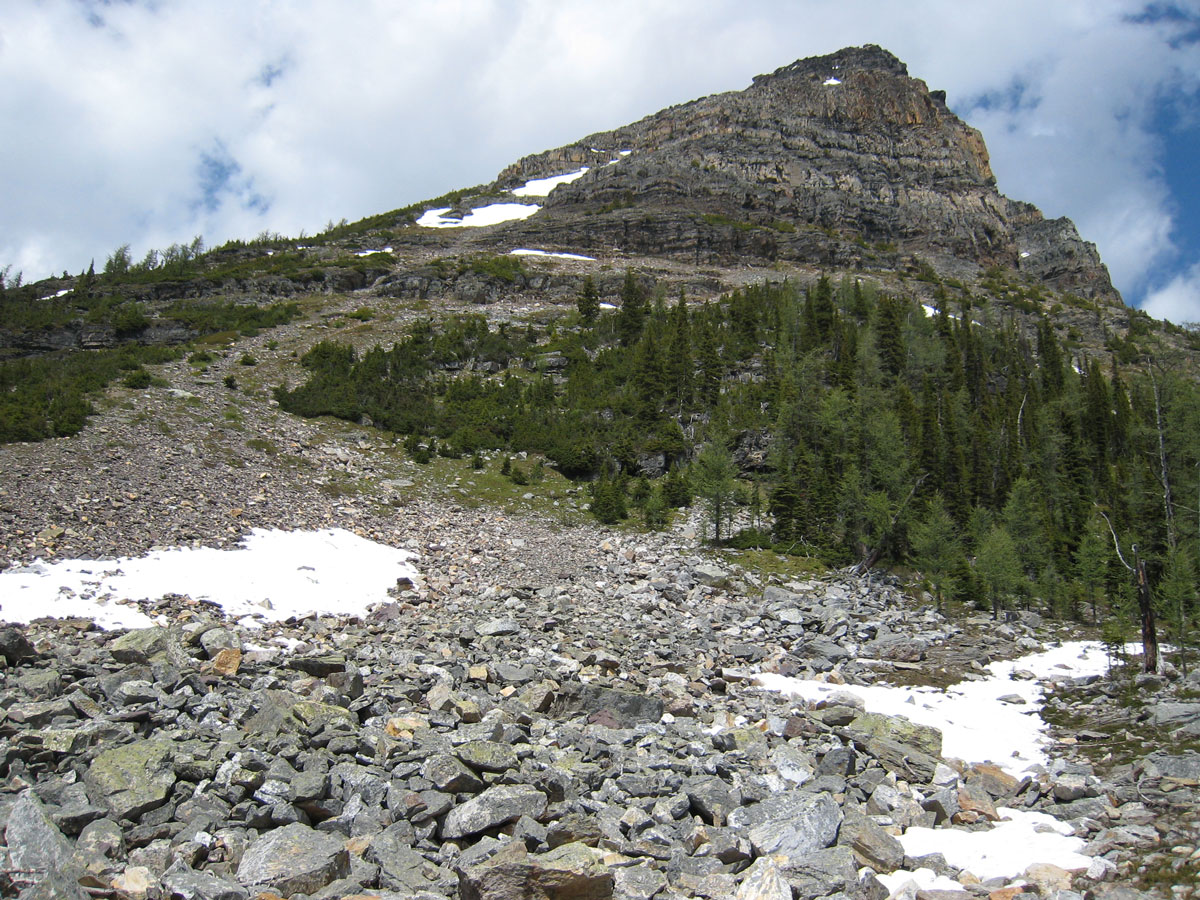 Beautiful peak along the route of Egypt Lake backpacking trail in Banff National Park