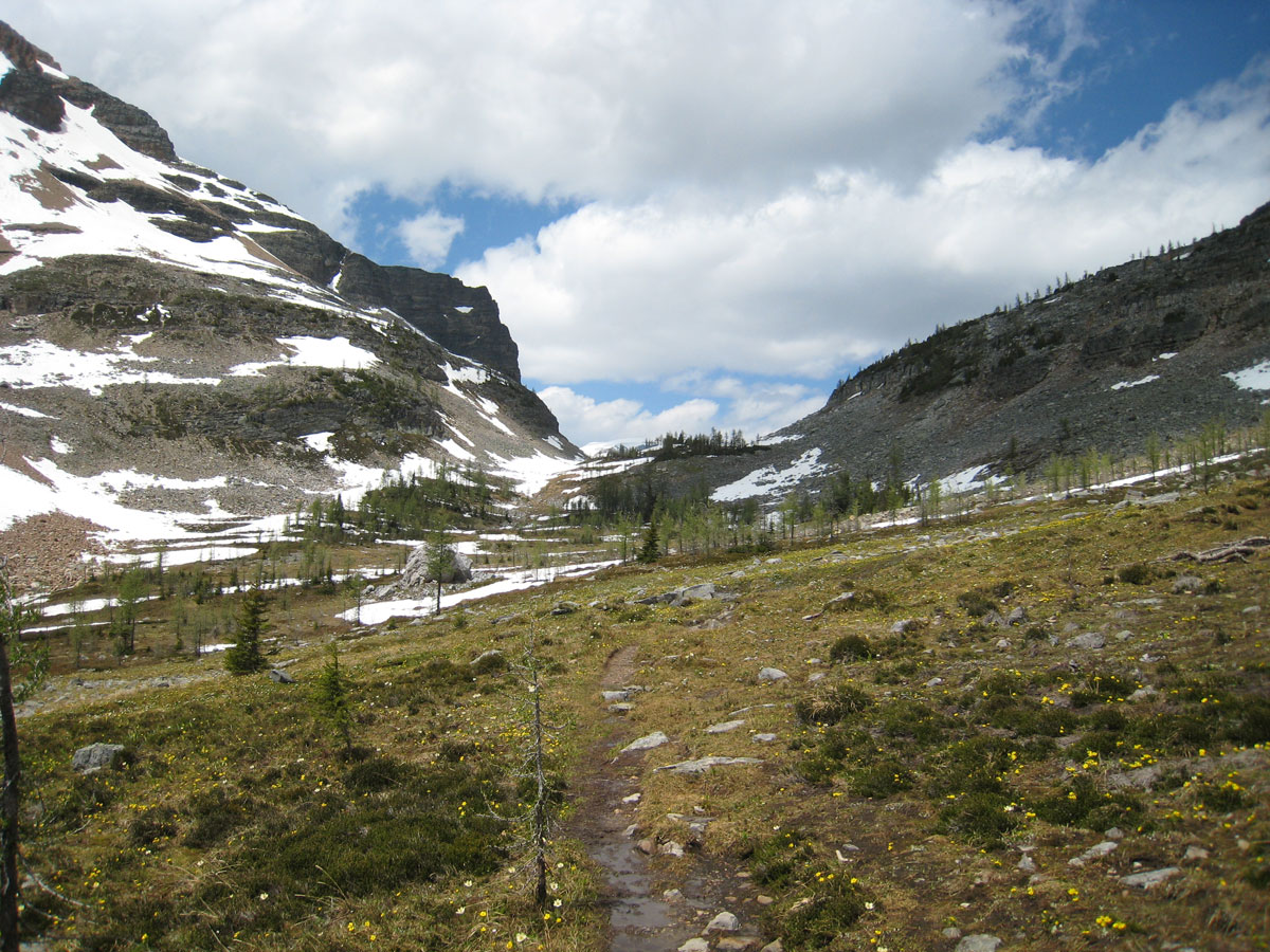 Approaching the pass on Egypt Lake backpacking trail in Banff National Park