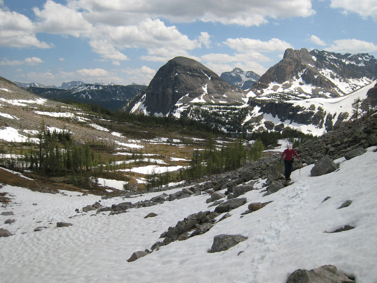 Snow on Egypt Lake backpacking trail in Banff National Park