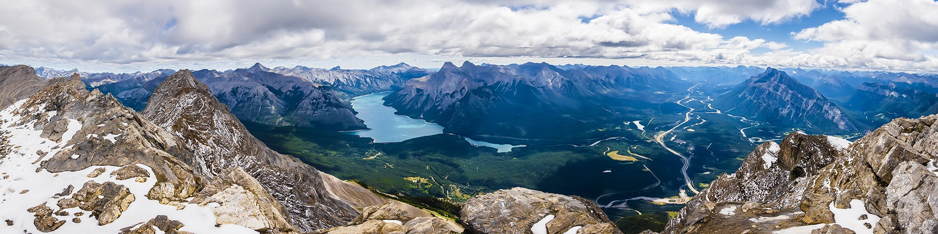 Panorama from Cascade Mountain scramble in Banff National Park