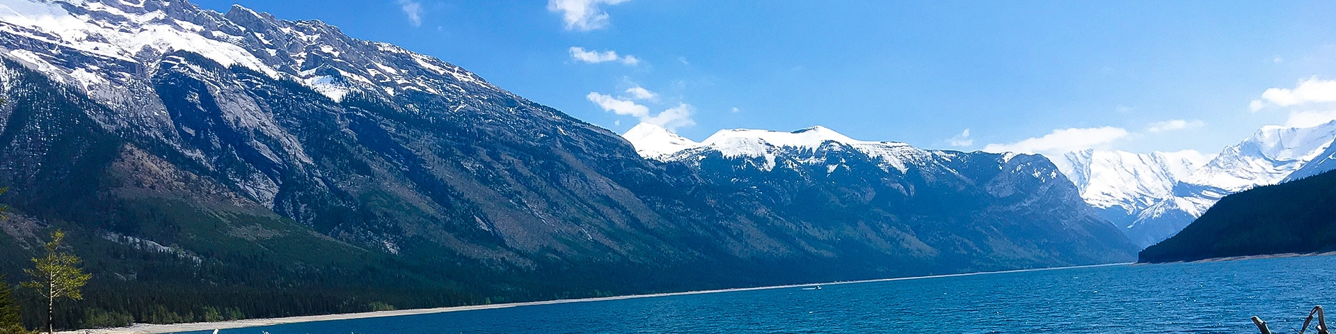 Panorama from Lake Minnewanka backpacking trail in Banff National Park