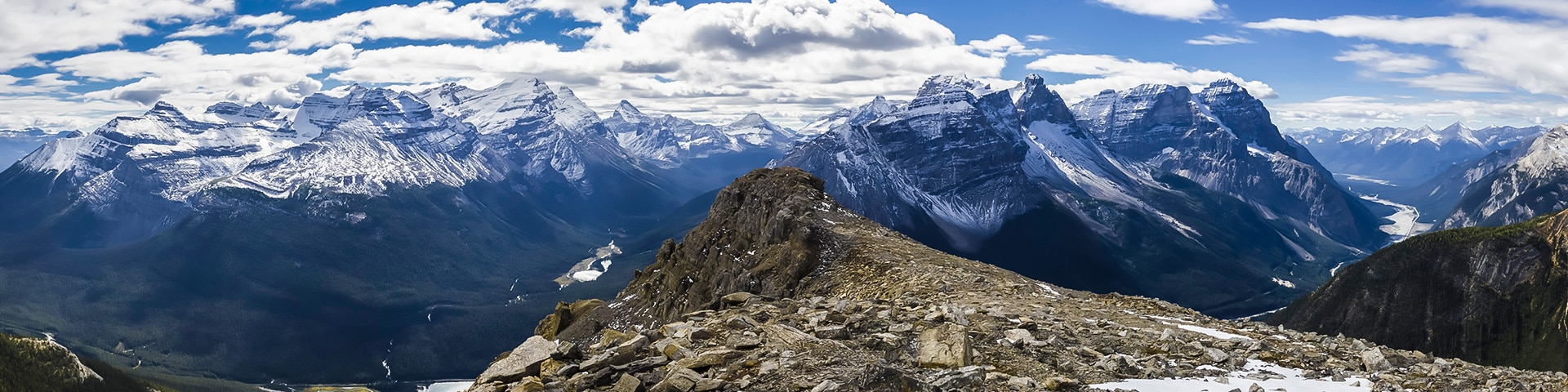 Panorama from Paget Peak scramble in Banff National Park