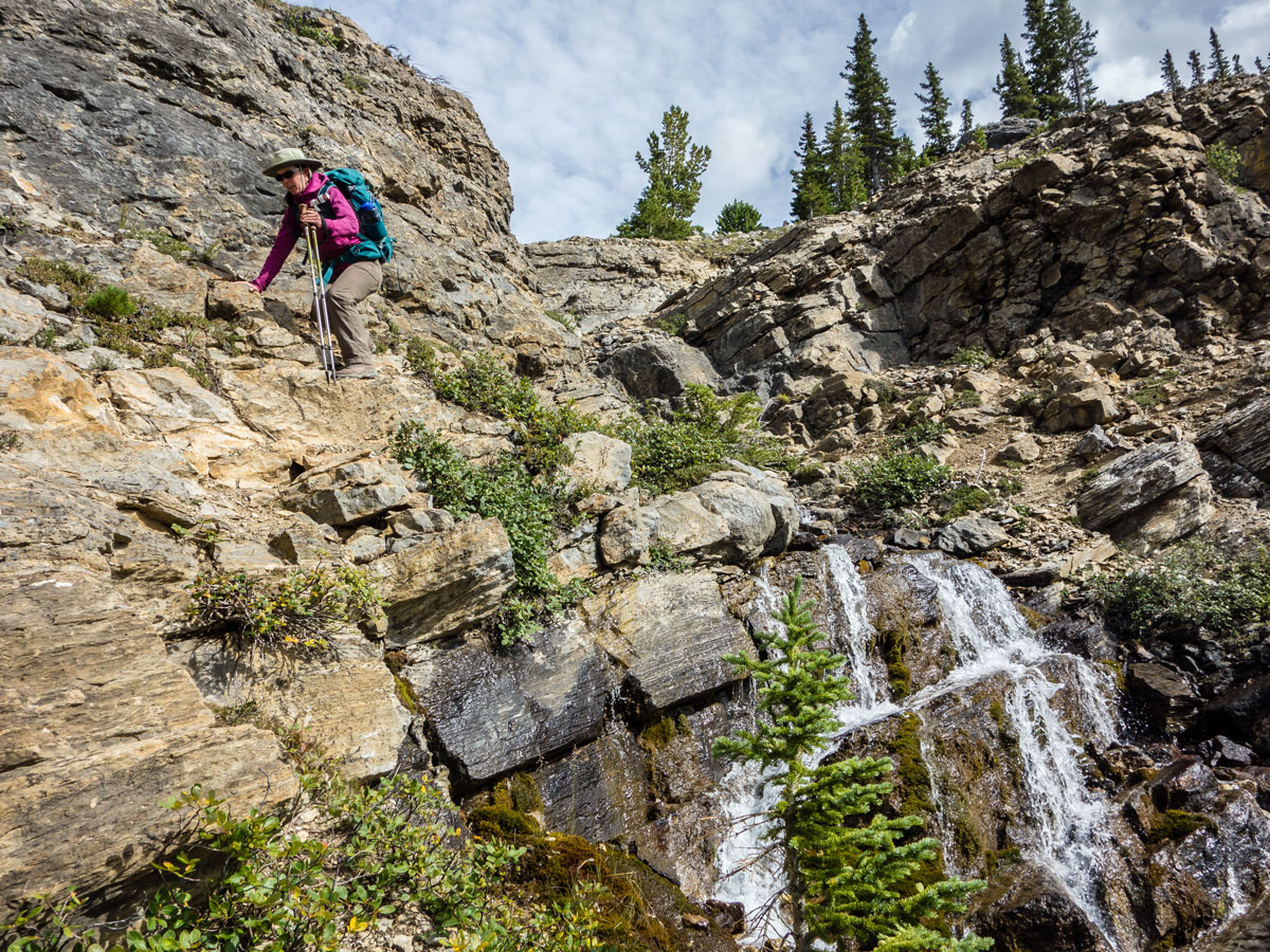 Stream crossing on Little Hector scramble in Banff National Park