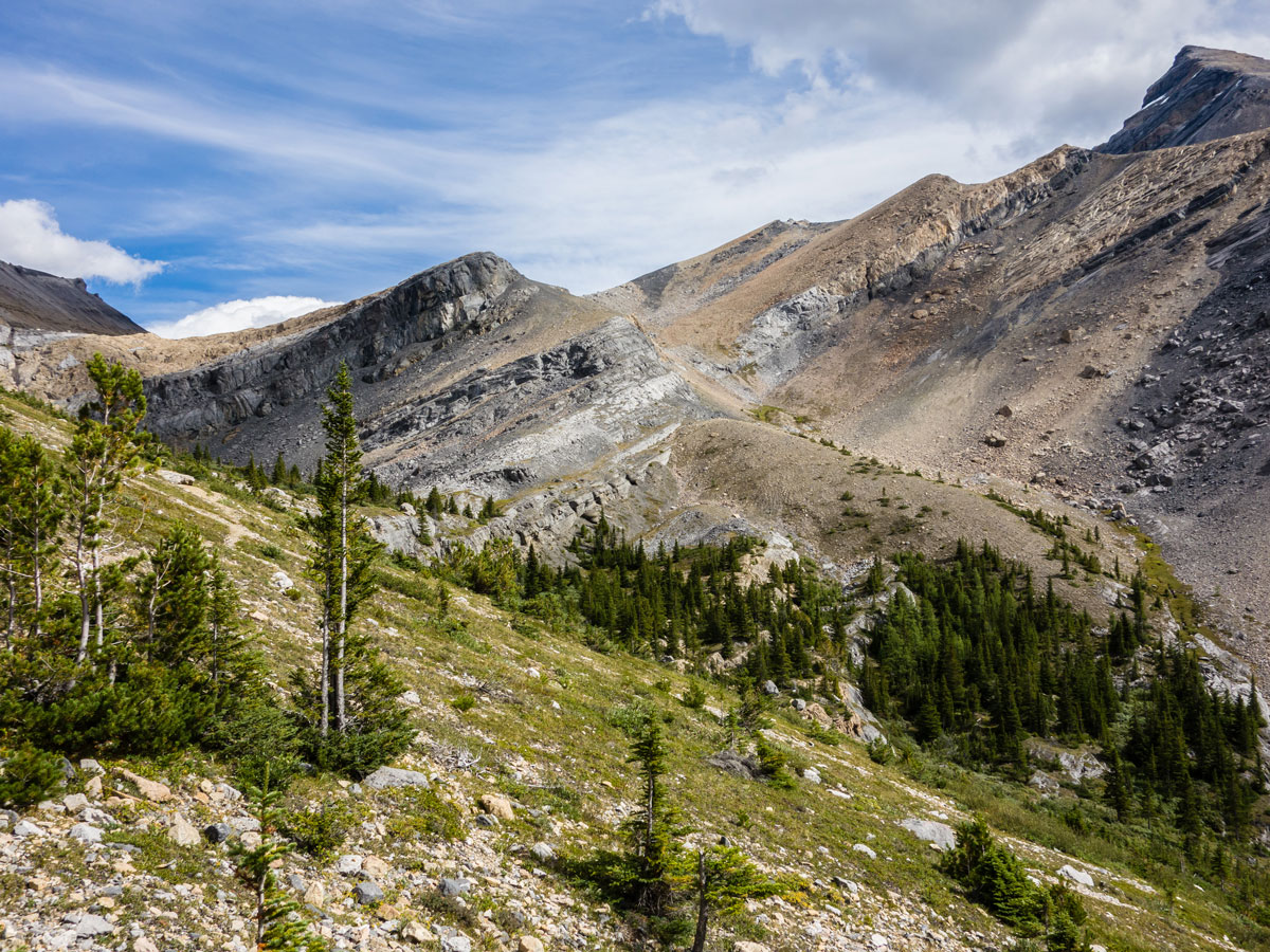 View towards the pass on Little Hector scramble in Banff National Park