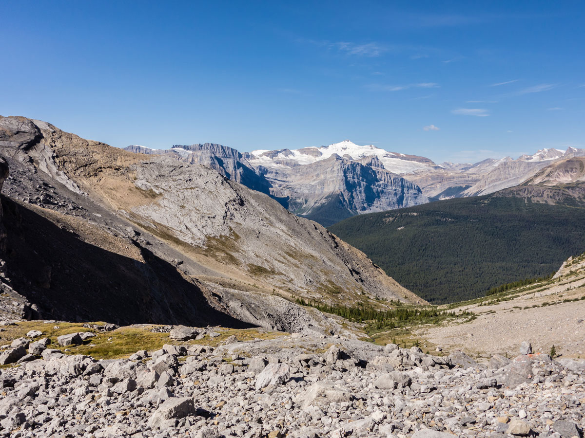 Looking back down the valley from Little Hector scramble in Banff National Park
