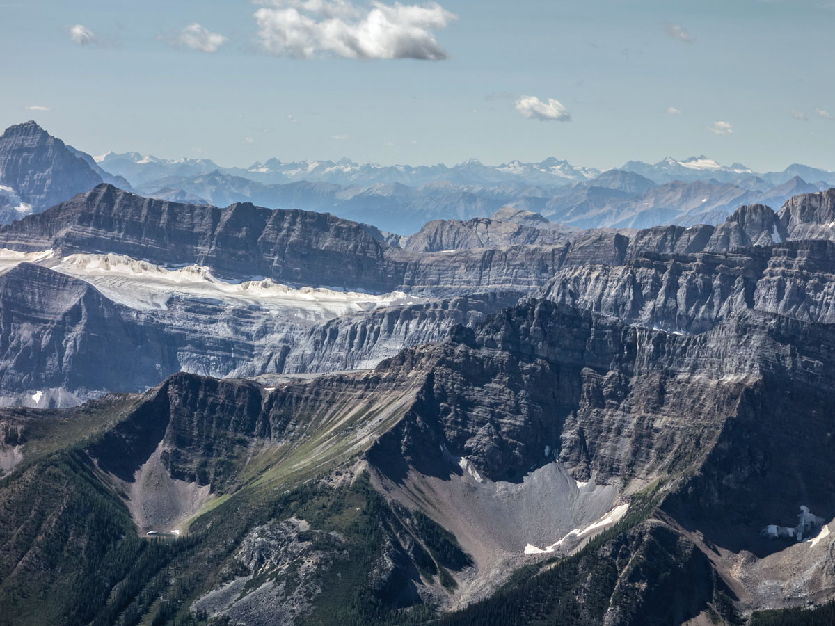 Columbia Mountains in the distance from Little Hector scramble in Banff National Park