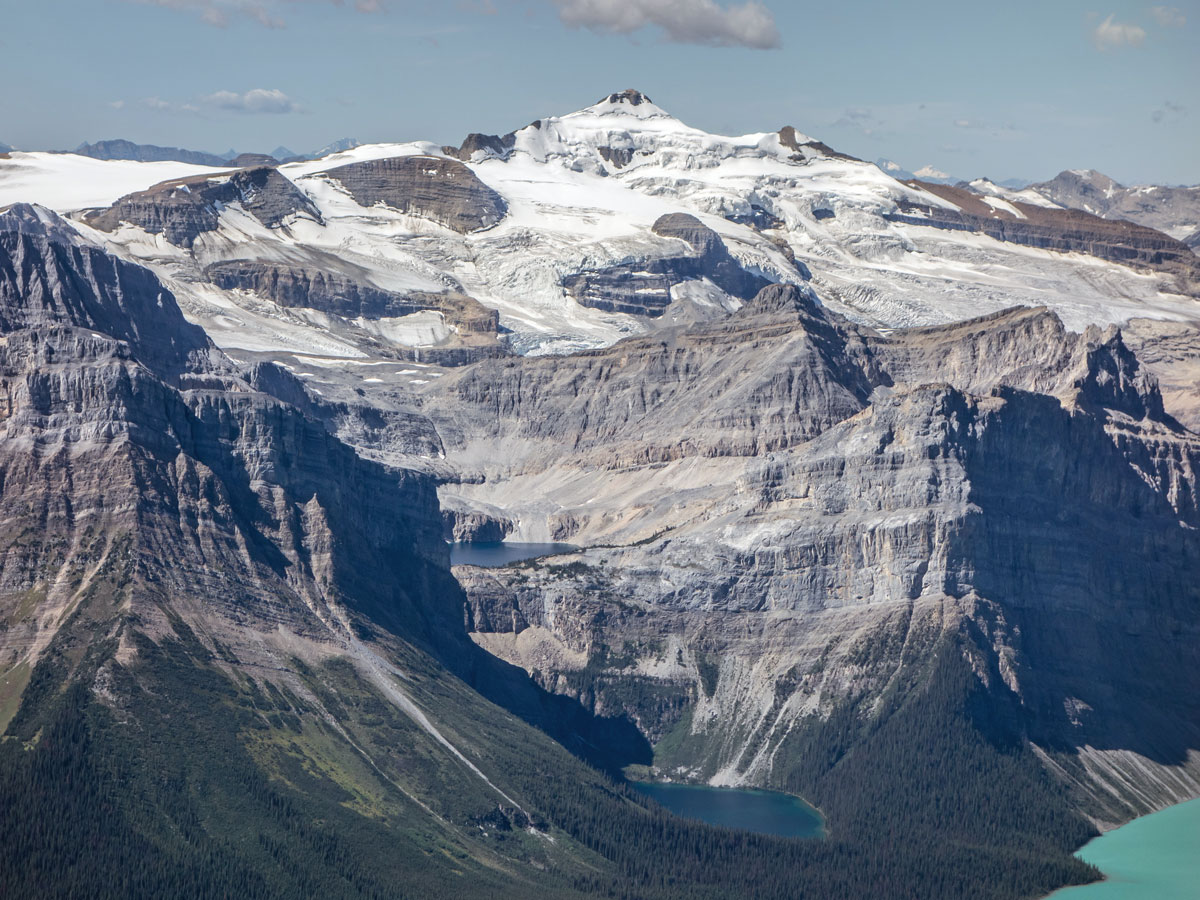 Waputik Icefield and Mount Balfour on Little Hector scramble in Banff National Park