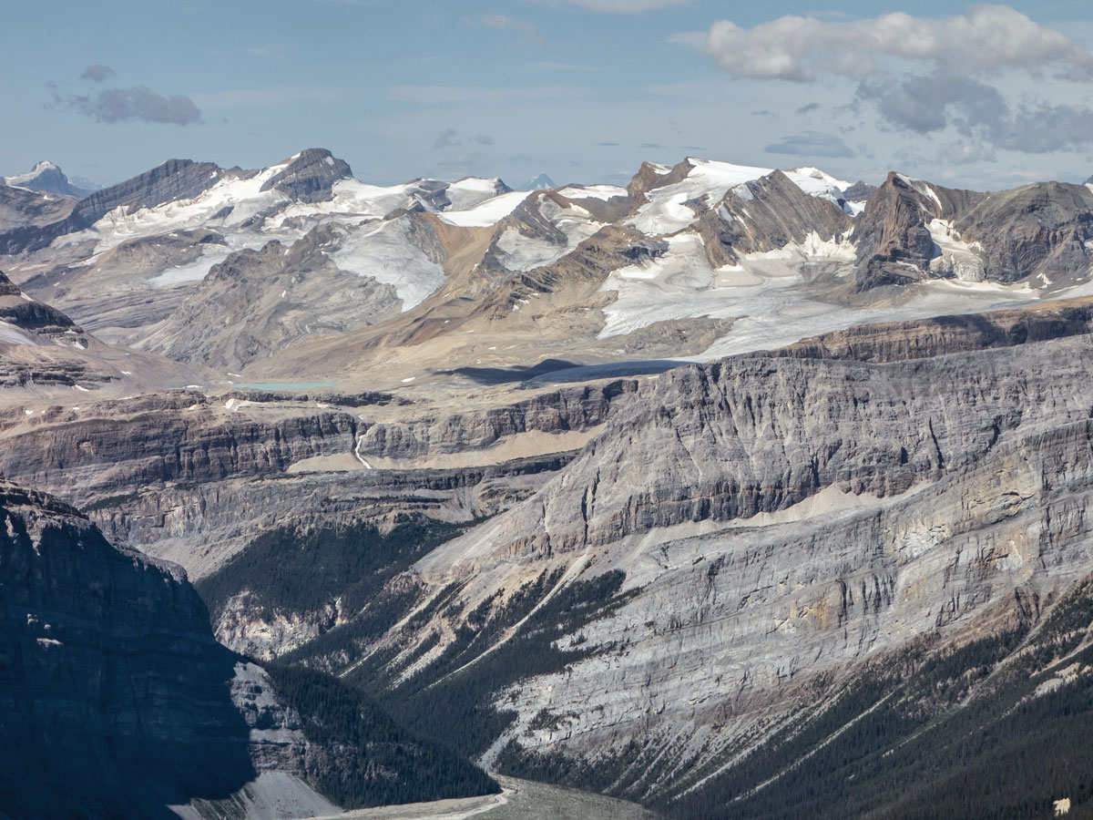 Many peaks along the Wapta Icefield on Little Hector scramble in Banff National Park