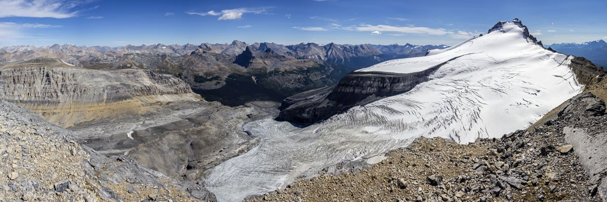 Panorama southeast from the summit on Little Hector scramble in Banff National Park