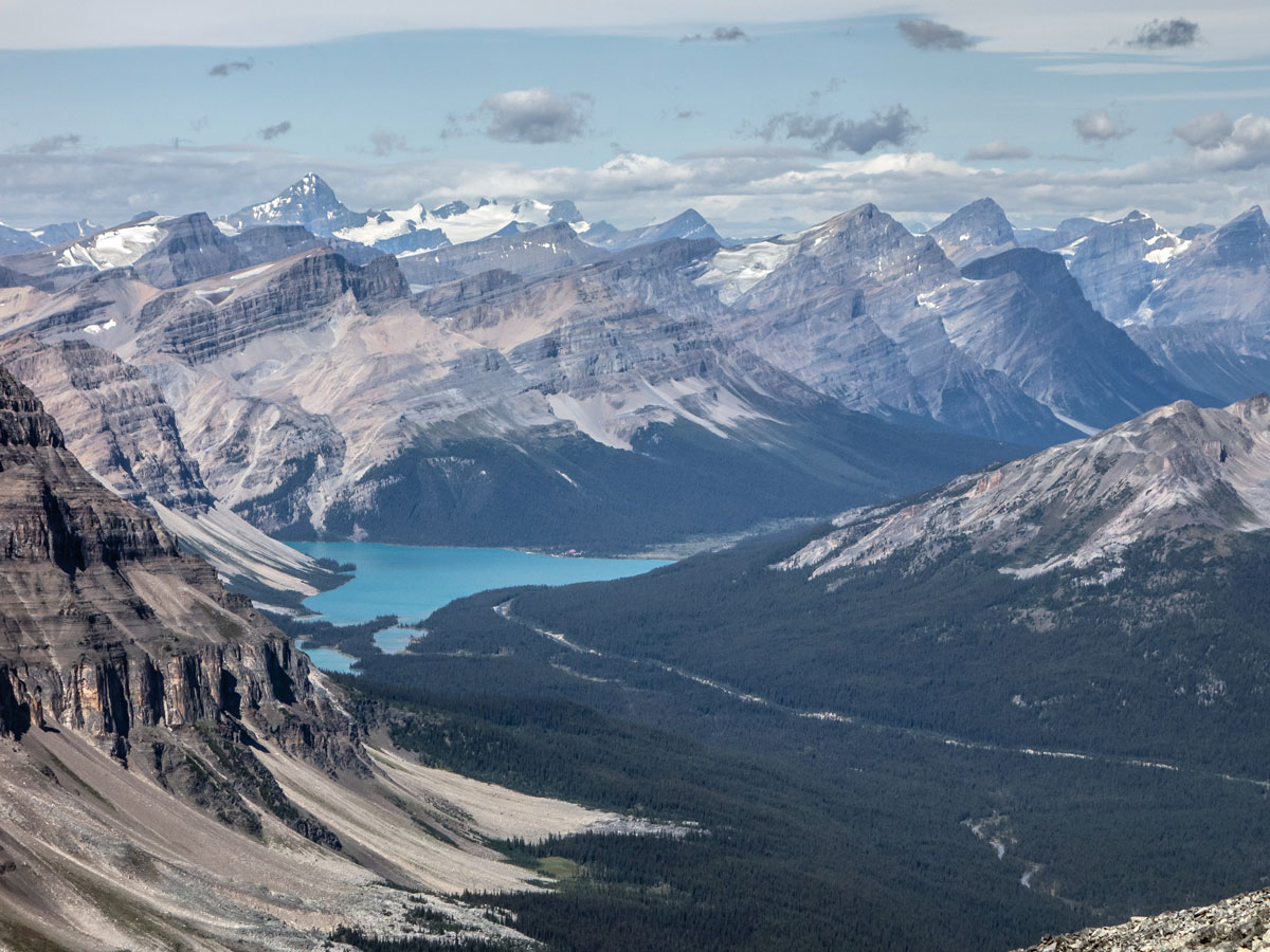 Bow Lake view from Little Hector scramble in Banff National Park