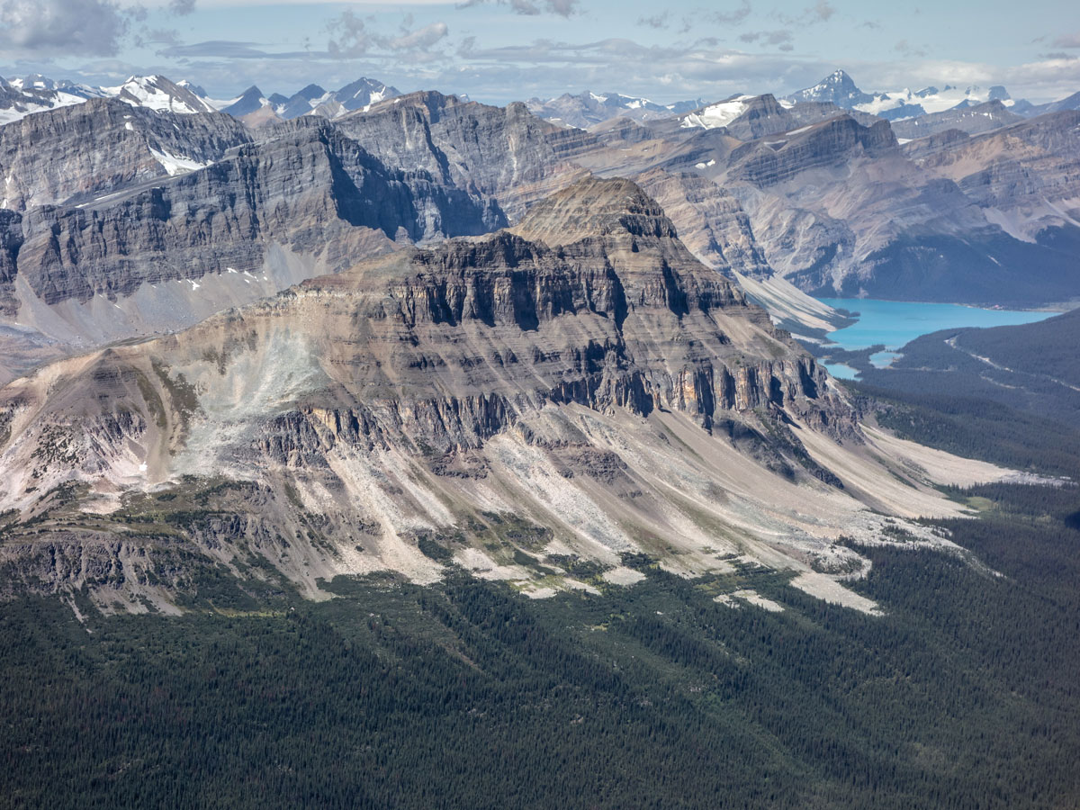 Bow Peak and Bow Lake on Little Hector scramble in Banff National Park