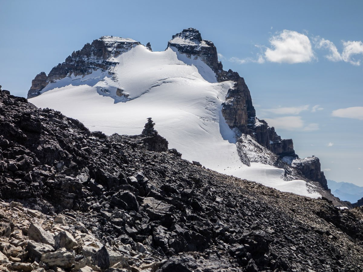 Summit cairn of Little Hector with Mount Hector behind from scramble in Banff National Park